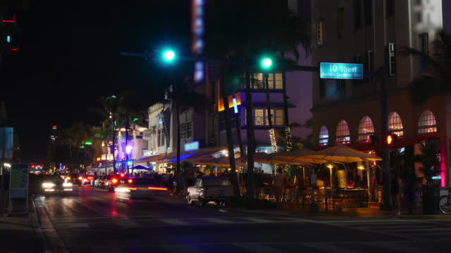 time lapse of miami beach at night, florida - florida usa stock videos and b-roll footage