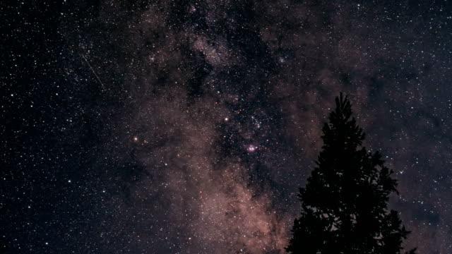 zeit ablauf der milch weg in der nacht - sternenspur stock-videos und b-roll-filmmaterial