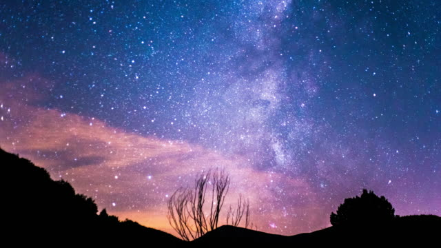 stockvideo's en b-roll-footage met time lapse of milky way in a landscape of mountains in a summer night - silvestre