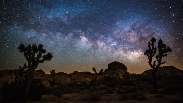 time lapse of milky way in the desert - joshua tree national park stock videos & royalty-free footage