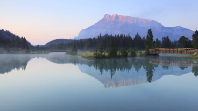 Time lapse of mist on Mountain lake,Banff National Park