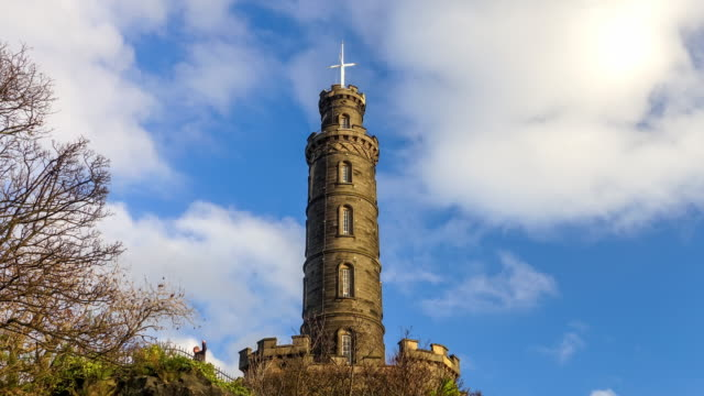time lapse of monument at colton hill edinburgh - edinburgh castle stock videos & royalty-free footage