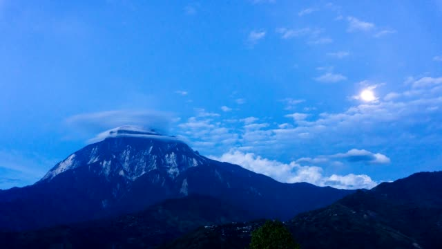 time lapse of moon rise and lenticular clouds over mount kinabalu - mt kinabalu national park stock videos and b-roll footage