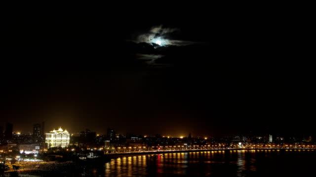 Time lapse of Moonrise at Marine Drive, Mumbai