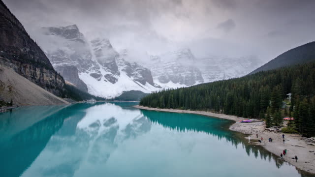 time lapse of moraine lake in canadian rockies banff national park alberta canada , time lapse zoom out movement - valley of the ten peaks stock videos and b-roll footage