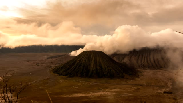 time lapse of mount bromo volcano during sunrise in east java, indonesia. - mount bromo stock videos & royalty-free footage