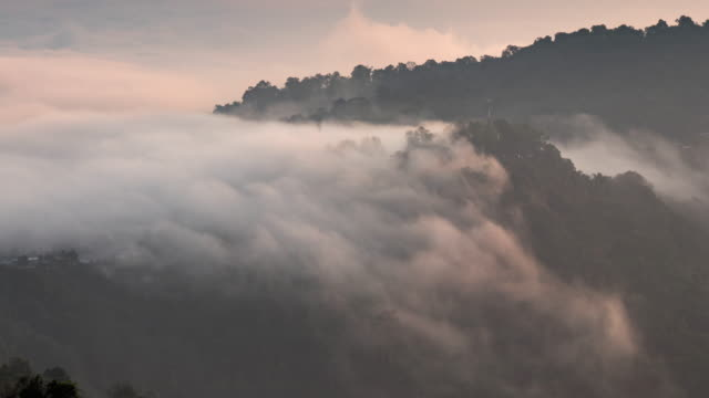 time lapse of mountain and moving mist and cloud , sunrise time - snow stock videos & royalty-free footage