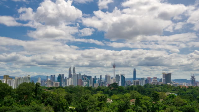 4K Time lapse of moving cloud over downtown Kuala Lumpur, Malaysia.
