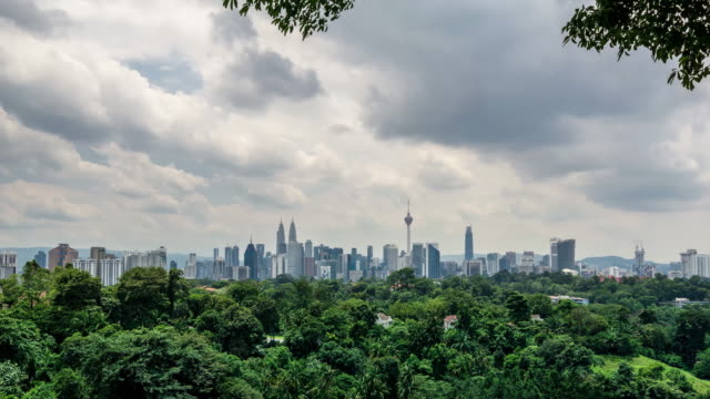 4K Time lapse of moving clouds over downtown Kuala Lumpur, Malaysia.