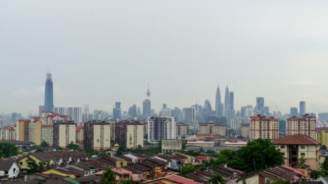 4k time lapse of moving clouds over downtown kuala lumpur, malaysia. - malaysia stock videos & royalty-free footage