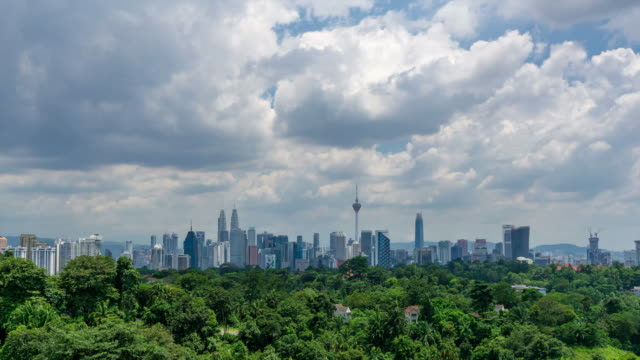 4K Time lapse of moving clouds over downtown Kuala Lumpur.
