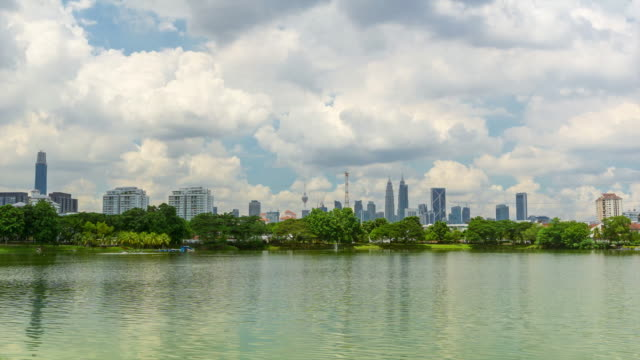 4K Time lapse of moving clouds over downtown Kuala Lumpur with reflection on the water.