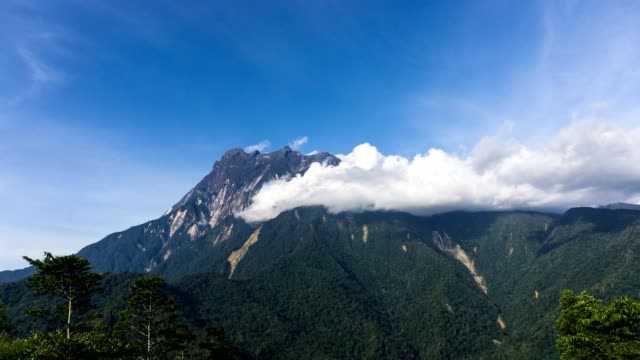 Time Lapse of moving clouds over Mount Kinabalu, Sabah Borneo.