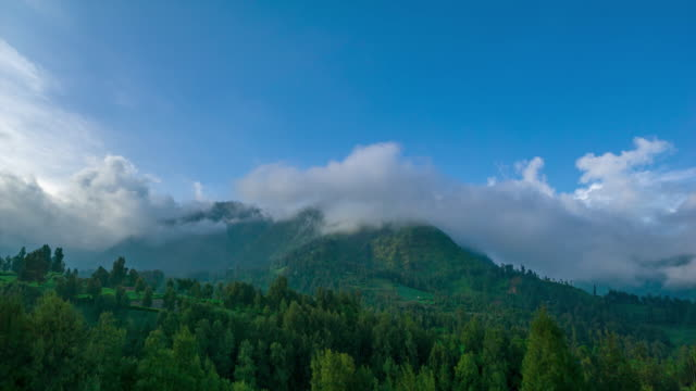 4K Time lapse of moving clouds over mountain range at Bromo Tengger Semeru National Park, East Java of Indonesia.