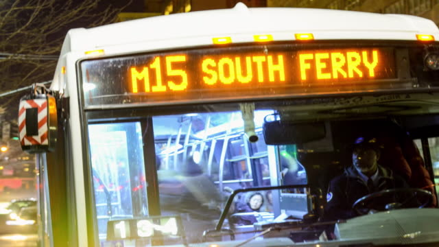 Time Lapse of MTA M15 Select Bus Service during evening rush hour limited express service / Midtown Manhattan via 42Nd Street and 2nd Avenue New York...