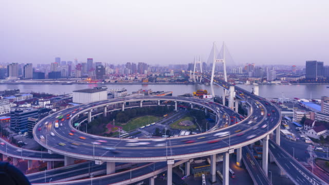 time lapse of nanpu bridge at dusk - air pollution stock videos & royalty-free footage