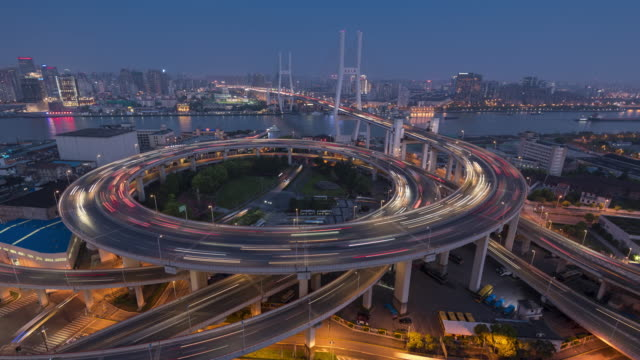 time lapse of nanpu bridge, zoom out - wound stock videos & royalty-free footage