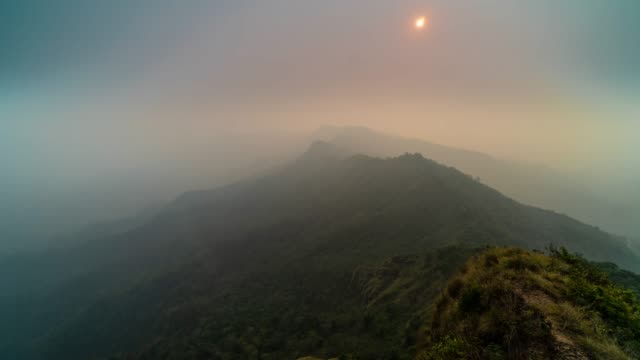 4k time lapse of nature landscape which have mountain and cloud when sunset time at phu chi dao (phu star) national park, chiang rai province, thailand - chiang rai province stock videos and b-roll footage