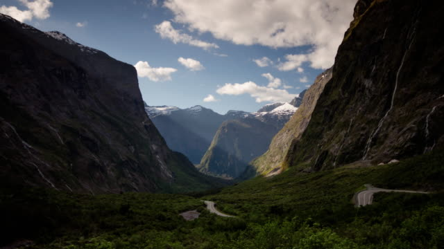 time lapse of nature mountain and sky at new zealand , fiordland national park - new zealand stock videos & royalty-free footage