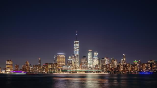 time lapse of new york cityscape, vereinigte staaten von amerika - one world trade center stock-videos und b-roll-filmmaterial