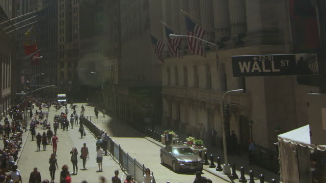 time lapse of new york stock exchange, wall street sign and people walking - new york stock exchange stock videos and b-roll footage