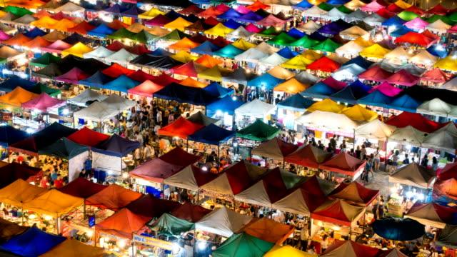 Time lapse of night market in Bangkok, Thailand