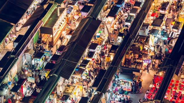 zeitraffer des nachtmarktes - taipei stock-videos und b-roll-filmmaterial