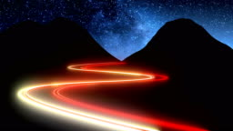 Time lapse of night mountains scenery with cars lights fast moving traces