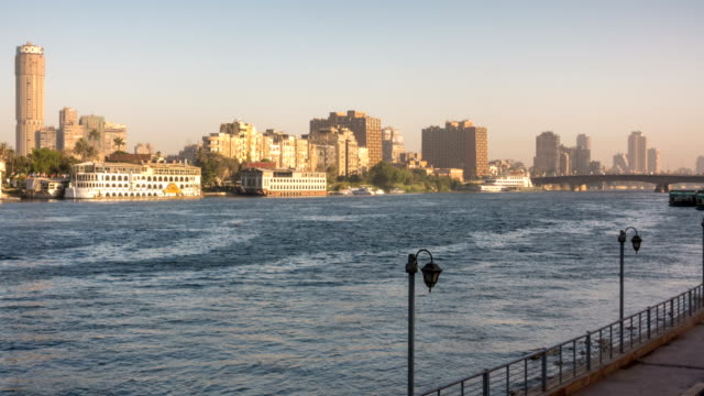 Time lapse of Nile River in Cairo city, Egypt