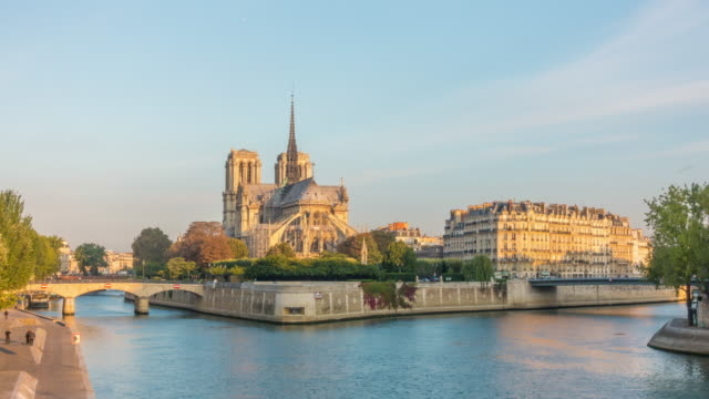 time lapse of notre dame de paris, france - cruising stock videos & royalty-free footage