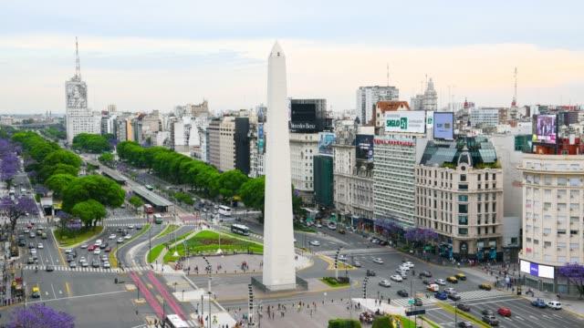 time lapse of obelisk on avenida de julio in buenos aires - avenida 9 de julio stock videos & royalty-free footage