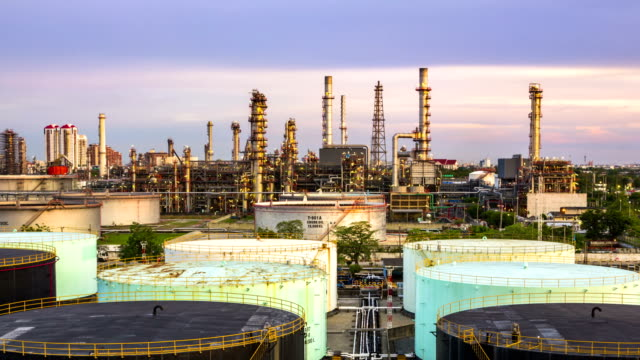 Time Lapse of Oil Refinery ,Day to Night