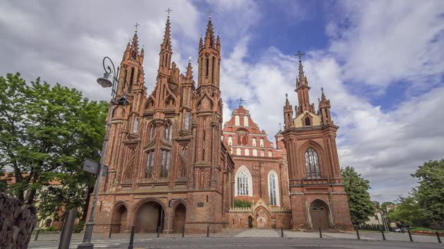 Time lapse of old gothic Church of Saint Anne in Vilnius, Lithuania.