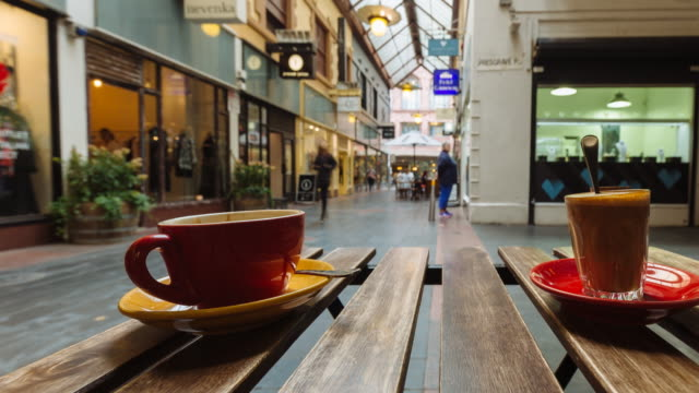 4K Time lapse of one of iconic Melbourne arcades with cafes and people, Victoria, Australia