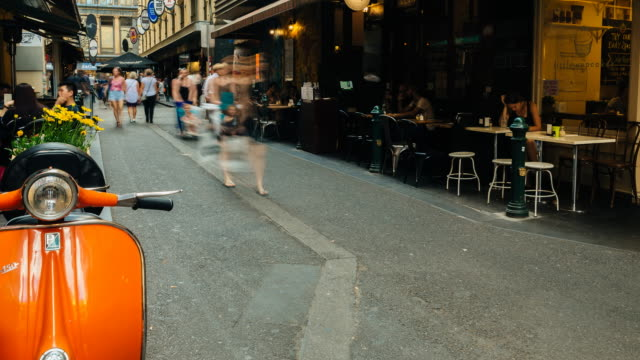 4K Time lapse of one of the most iconic melbourne lanes, Centre Place, with cafes and people, Victoria, Australia