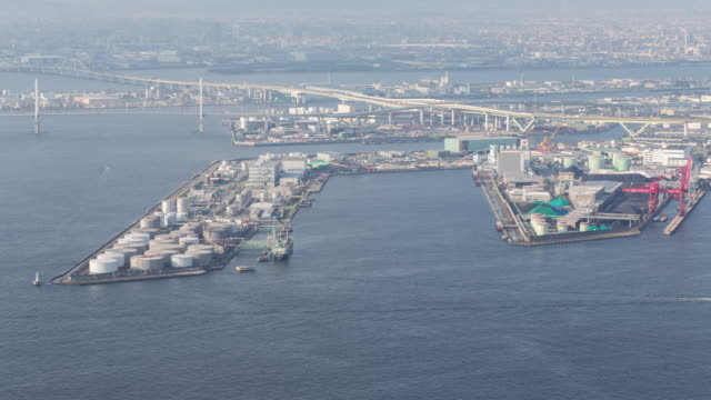 Time lapse of Osaka industrial zone Japan