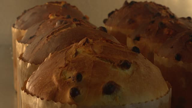 time lapse of panettone loafs baking in oven - レーズン点の映像素材/bロール