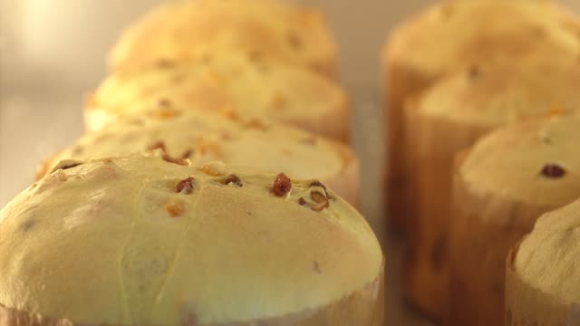 stockvideo's en b-roll-footage met time lapse of panettone loafs baking in oven - rozijn