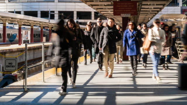 4k time lapse of passenger and tourist walking via walk way of train railroad station transportation hub in rush hour in boston, massachusetts, usa. transportation and traveler concept - boston massachusetts stock videos & royalty-free footage