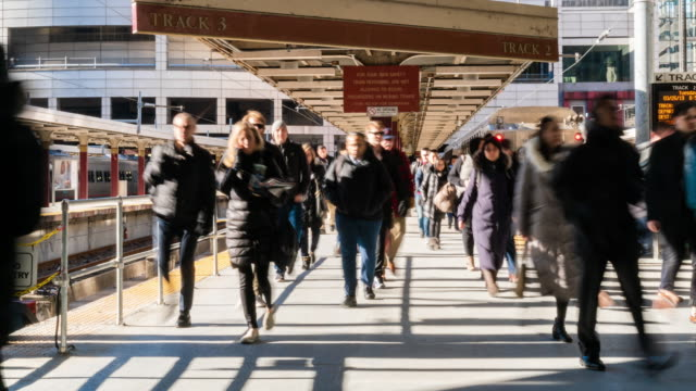 4k time lapse of passenger and tourist walking via walk way of train railroad station transportation hub in rush hour in boston, massachusetts, usa. transportation and traveler concept - fast motion stock videos & royalty-free footage