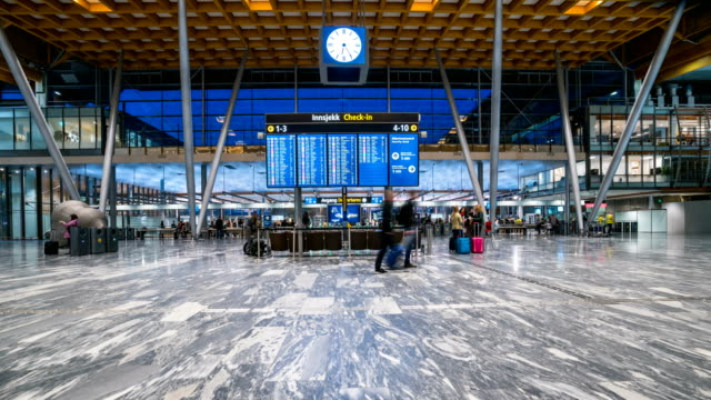 Time Lapse of passenger at Oslo gardermoen airport, Norway