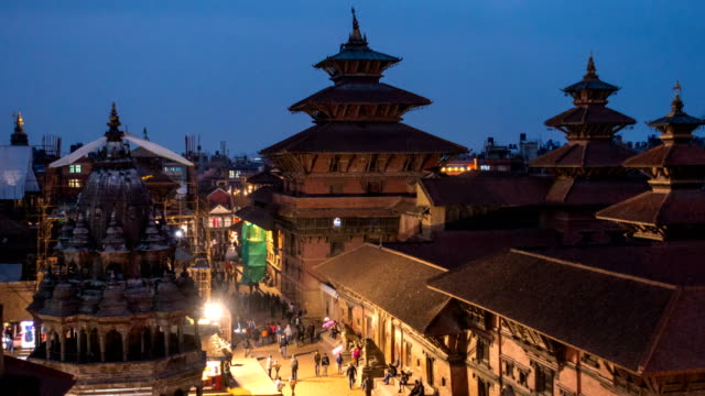 time lapse of patan durbar square in the kathmandu valley, napal - valley stock videos & royalty-free footage