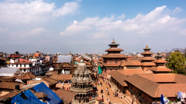 time lapse of patan durbar square in the kathmandu valley, napal - tradition stock videos & royalty-free footage