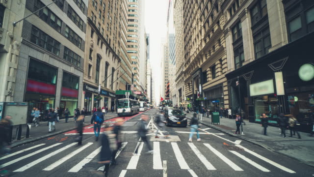 time lapse of pedestrian and tourist in new york - fast motion stock videos & royalty-free footage