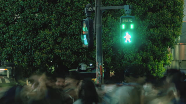 time lapse of pedestrian crossing street light, panning to right - traffic light stock videos & royalty-free footage