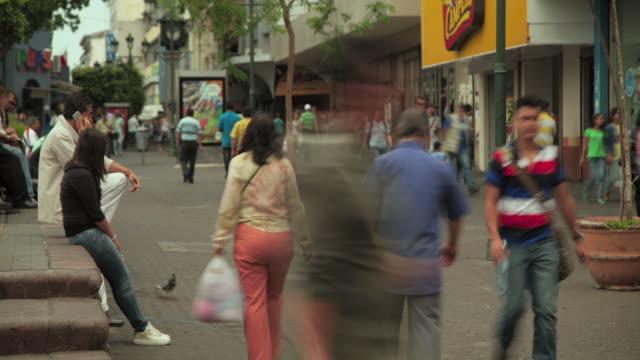 time lapse of pedestrian street in san jose - san jose costa rica stock videos & royalty-free footage