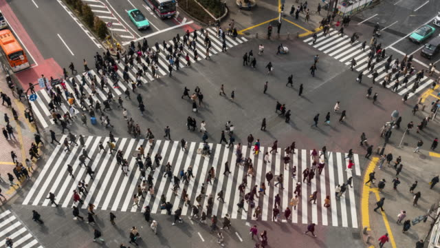 4k time lapse of pedestrians and car crowd undefined people walking overpass the street intersection cross-walk in shibuya district tokyo city, japan. japanese culture and shopping area concept - fast motion stock videos & royalty-free footage