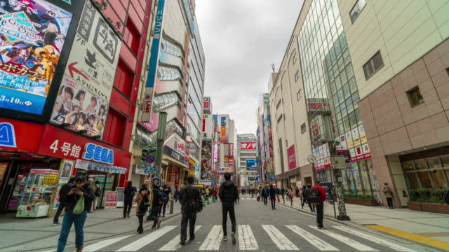 4k time lapse of pedestrians crowd undefined people walking in akihabara - akihabara station stock videos and b-roll footage