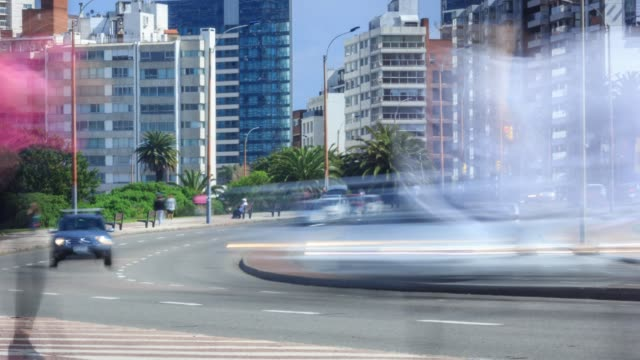 Time lapse of people and traffic in Montevideo, Uruguay