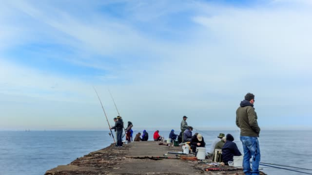 time lapse of people fishing in montevideo, uruguay - fishing rod stock videos & royalty-free footage